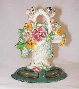 Vintage Small Cast Iron Doorstop Flowers In French Basket National Foundry