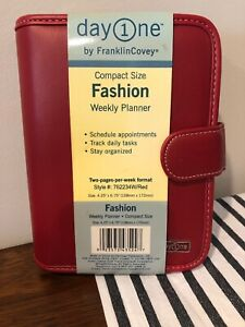 New Franklin Covey Compact Size Day One Weekly Organizer 762234 Red 4 25x6 75