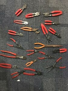 Mac Bluepoint Matco Lot Of 20 Pliers Adjustable Snapring Needlenose Wirecutter