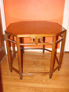 Baker Walnut Asian Burl Octagon End Table Far East Collection By Michael Taylor