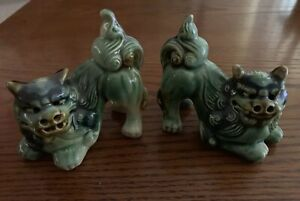 4 Inch Tall Foo Dogs Pair Green Blue And Brown Glaze Beautiful Excellent Cond