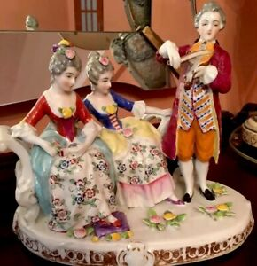 Large Group Antique Dresden German Style Figurine Porcelain