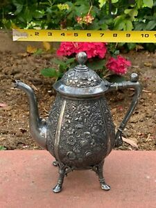 Silver Plated Reed Barton Teapot Very Rare Victorian Floral Beautiful Tea Pot