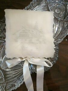 Vintage Antique Swiss Appenzel Embroidered Silk Organdy Handkerchief Case