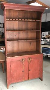 Country Cabinet Painted Primitive Rustic Farmhouse Stepback Cupboard Hutch Pine