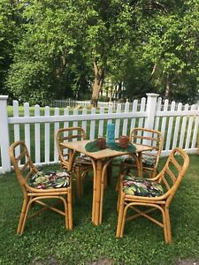 Amazing Vintage 1950s Tiki Table And Chairs Bamboo Mid Century Modern Antique