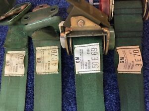 Oem 67 72 Green Gm Dulux Retractable Seat Belts Chevy Buick Olds Chevelle