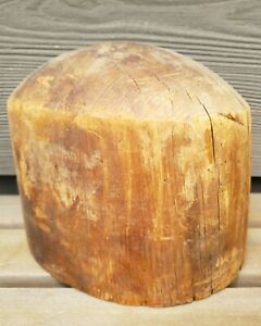 Hat Making Mold Block Crown Form Antique Vtg Millinery Tool Wood Store Display