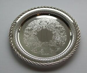 Vintage International Silver Company 12 1 4 Serving Tray Pierced Edge Plated
