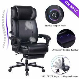 Vanbow Big And Tall Reclining Leather Office Chair High Back Computer Chair