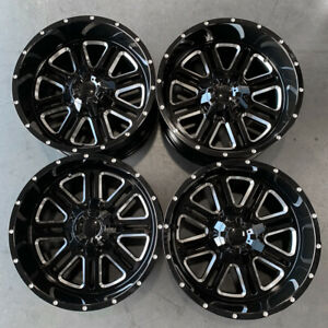 Used 20x12 D6 Fit Lift Chevy Ford 6x135 6x5 5 44 Black Milled Wheels Set 4