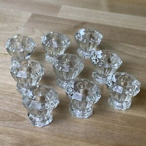 Lot Of 9 Vintage Clear Glass Drawer Pulls 10 Sided With Some Hardware