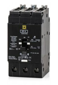 new In Box Schneider Square D Edb34050 3 Pole 50amp 480v Circuit Breaker
