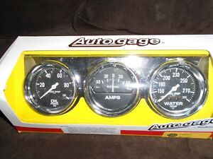 Brand New Auto Meter Auto Gage Console 2 5 8 Water Temp Ammeter