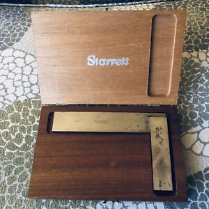 Starrett Precision No 20 Solid Steel Square Machinist Tool With Wooden Box