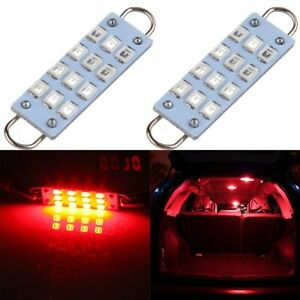 Red 43mm 211 2 212 2 214 2 12 Smd 1210 Rigid Loop Led Bulbs Door Trunk Tool Pair