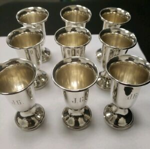 Vintage Sterling Silver Set Of 8 Cordial Cups British Hallmarks 891 Jg Monogra