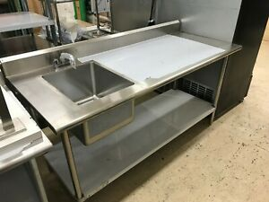 Kcs Ws 3072wsr 72 Stainless Steel Work Prep Table With Sink On Left With Faucet