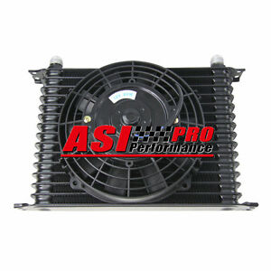 15 Row 10an Engine Transmission Oil Cooler 7 electric Fan Kit Universal Pro