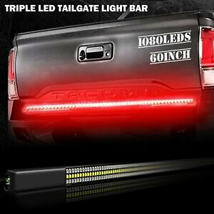 1x60 Inch 3 row Led Tailgate Light Bar Strip Red white Amber Reverse Stop Signal