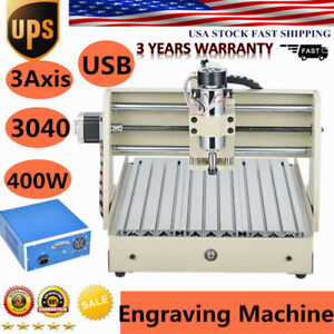 400w 3 Axis 3040 Usb Cnc Router Engraving Machine Carving Cutter Desktop Ups Hot
