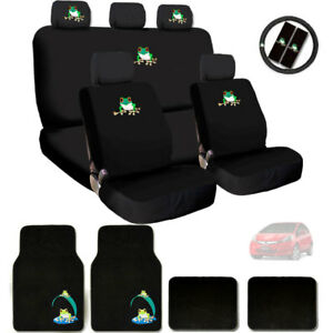 For Honda Frog Logo Car Seat Covers Headrest Steering Wheel Cover Floor Mats