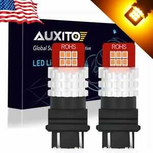 2x Auxito 3157 3457a 4157 Ck Yellow Amber Turn Signal Blinker Led Light Bulbs K