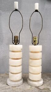 Pair Art Deco Carved Table Lamps White Alabaster Vintage