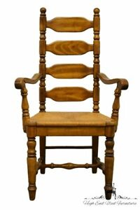 High End Rustic Country Style Ladderback Dining Arm Chair W Rush Seat