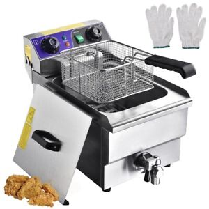 Commercial Electric Fryers 1500w Countertop Restaurant Equipment Timer Drain