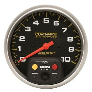 Autometer 6801 Pro Comp Water Resistant Memory Tachometer Black Red Pointer 5