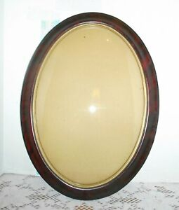 Antique Picture Frame Oval Convex Glass Faux Tortoise Shell Grain Paint Old Glas