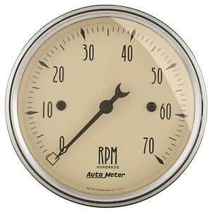 Autometer 1898 Antique Beige Electric Tachometer 12 Volt And 16 Volt Compatible
