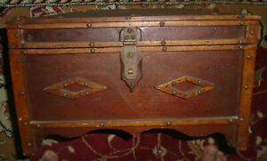Antique Dome Top Trunk Treasure Chest Wooden Document Box