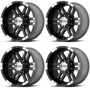 16x9 Moto Metal Mo951 8x170 12 Black Machine Wheels Rims Set 4