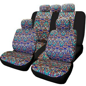 For Chevy New 11pcs Aztec Design Front Rear Car Truck Suv Seat Covers Set