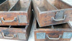 4 Primitive Old Farm Tool Drawers Wall Hanger Country Primitive Farm Barn