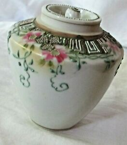 Nippon Hand Painted Flowers Moriage Covered Cracker Biscuit Jar 4 Tall