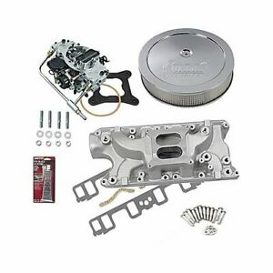Sbf 289 302 Ford Stage 1 Intake Manifold 600 Cfm Carb Air Cleaner Combo