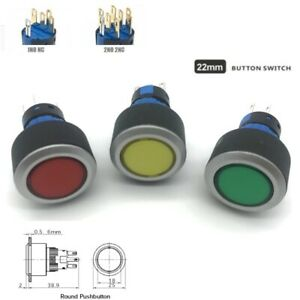 22mm Dpdt Led Illuminated Round Plastic Push Button Switch s1 22 Ce Ul Rohs