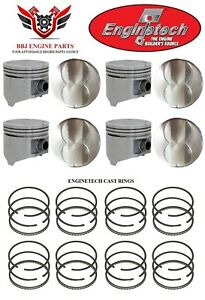 Chrysler Dodge 318 V8 Enginetech Flat Top Pistons 8 With Rings 1967 1984