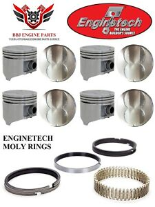 Enginetech Chrysler Dodge 318 5 2 V8 Flat Top Pistons With Moly Rings 67 84