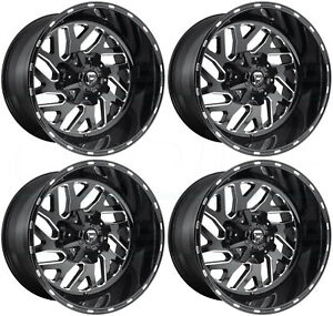 22x12 Fuel Triton D581 5x4 5 5x5 5x127 43 Black Milled Wheels Rims Set 4