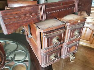 Set 5 Antique New Home Treadle Sewing Machine Cabinet Drawers W Frames Vintage