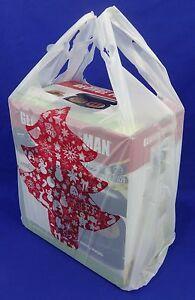 Red Christmas Tree Holiday Plastic T shirt Shopping Bags 11 25 X 6 X 21 Merry