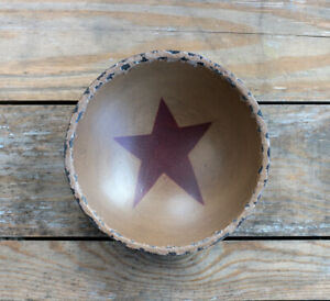 Chippy Paint Wood Bowl Mustard Red Star Primitive Decor Hearthside Collection 8