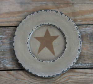 Chippy Paint Wood Plate Mustard Star Primitive Decor Hearthside Collection 8 5
