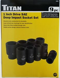 Titan Tools 40309 9 Piece 1 Inch Drive Sae Deep Impact Socket Set