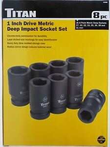 Titan Tools 41908 8 Piece 1 Inch Drive Metric Deep Impact Socket Set