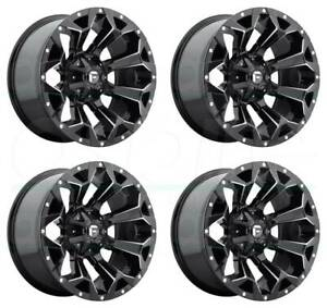 22x10 Fuel Assault D546 5x5 5 5x150 18 Black Milled Wheels Rims Set 4